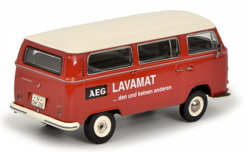 "Schuco VW T2a Bus L Luxus ""AEG Lavamat"", in het rood. No. 450334300."