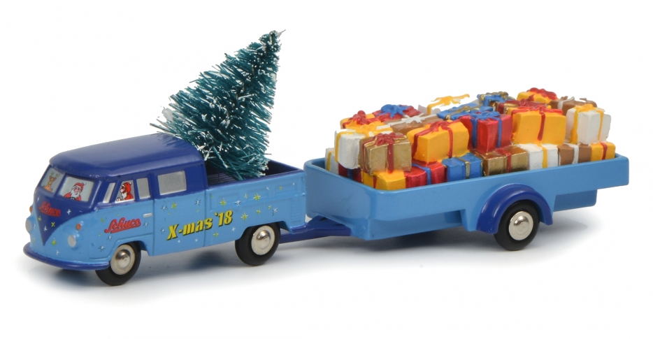 Schuco Volkswagen transporter T1 doka with trailer christmas