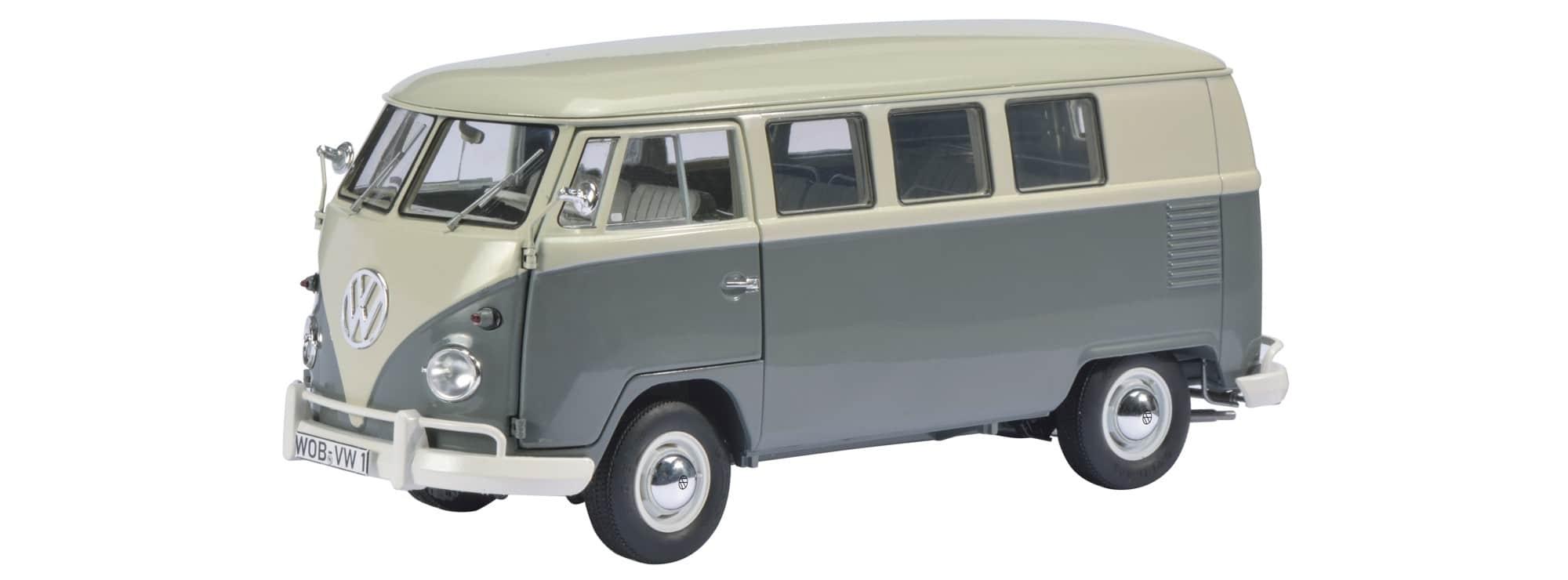 schuco 2015 450037500 VW T1 Bus grijs wit 1op18