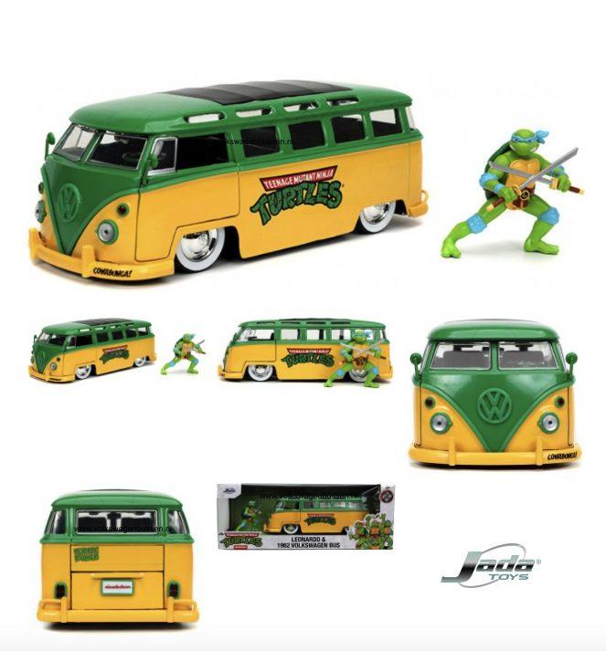 JADA TOYS VW T1 BUS 1962 'TMNT' + LEONARDO FIGUUR
